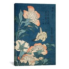 'Peonies and Canary' by Katsushika Hokusai Painting Print on Canvas