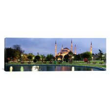 Panoramic Mosque Lit up at Dusk Blue Mosque, Istanbul, Turkey Photographic Print on Canvas