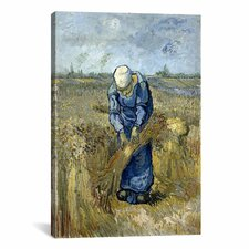 'Peasant Woman Binding Sheaves (after Millet)' by Vincent van Gogh Painting Print on Canvas