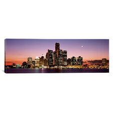 Panoramic Night Skyline Detroit Michigan Photographic Print on Canvas