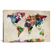"""World Map Urban Watercolor"" by Michael Tompsett Painting Print on Canvas"