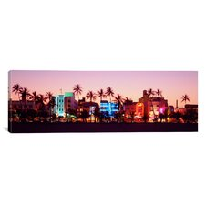 Panoramic Night Ocean Drive, Miami Beach, Florida Photographic Print on Canvas