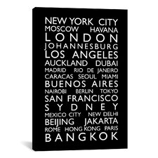 'World Cities Bus Roll' by Michael Tompsett Textual Art on Canvas