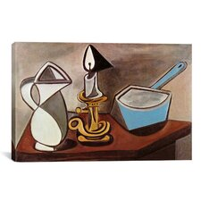 'Pitcher, Candle and Casserole' by Pablo Picasso Painting Print on Canvas