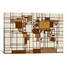 'World Map Abstract Mondrian Style' by Michael Tompsett Graphic Art on Canvas