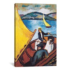 'Sailing Boat on the Beach Tegernsee' by August Macke Painting Print on Canvas