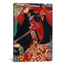 Japanese Samurai Painted Woodblock Painting Print on Canvas