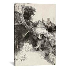 'Saint Jerome Reading in an Italian Landscape' by Rembrandt Painting Print on Canvas
