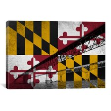Maryland Flag, Chesapeake Bay Bridge, Ocean Grunge Graphic Art on Canvas