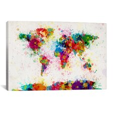 'World Map Paint Drops III' by Michael Tompsett Painting Print on Canvas