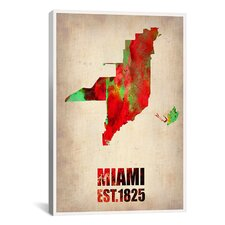 Naxart 'Miami Watercolor Map Antique Map' Graphic Art on Canvas