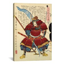 Japanese Samurai with Naginata Woodblock Graphic Art on Canvas