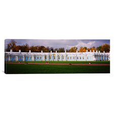 Panoramic Lawn in front of a Palace, Catherine Palace, Pushkin, St. Petersburg Photographic Print on Canvas, Russia Panoramic