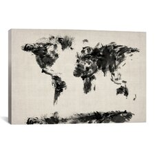 Map of The World Paint Splashes by Michael Tompsett on Canvas