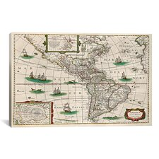 Antique Map 'Map of the Americas (Hondius, Henricus 1631)' Painting Print on Canvas