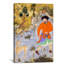Islamic Man with a Saluki Islamic Painting Print on Canvas