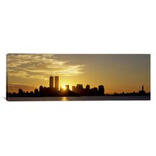 Panoramic Manhattan Skyline and a Statue at Sunrise, New York City Photographic Print on Canvas