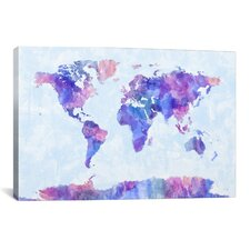 'Map of The World Paint Splashes V' by Michael Tompsett Painting Print on Canvas