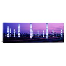 Panoramic Light Sculptures Lit up at Night, Lax Airport, Los Angeles, California Photographic Print on Canvas