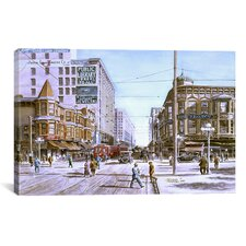 'Los Angeles: 5th and Hill' by Stanton Manolakas Painting Print on Canvas