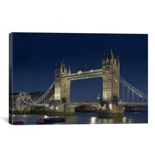 Skylines and Cityscapes London Tower Bridge at Night Photographic Print on Canvas