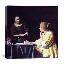 """Lady Maidservant Holding Letter"" Canvas Wall Art by Johannes Vermeer"