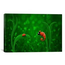 Kids Children Ladybug and Chameleon Canvas Wall Art