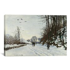 'La Route de la Ferme Saint-Simeon en Hiver 1867' by Claude Monet Painting Print on Canvas
