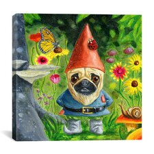 'Pug Gnome' by Brian Rubenacker Painting Print on Canvas