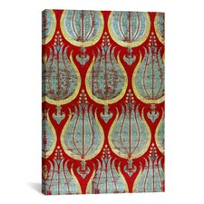 Decorative 'Ottoman Tulips, Silk and Silver Lamella Textile' Graphic Art on Canvas