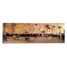 Panoramic People Praying in Front of the Western Wall, Jerusalem, Israel Photographic Print on Canvas