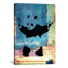 Street Art 'Panda with Guns Blue Square' Painting Print on Canvas