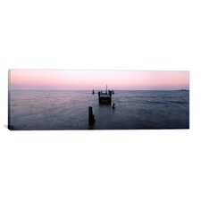 Panoramic 'Dilapidated Pier, North Point State Park, Maryland' Photographic Print on Canvas