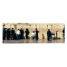 Panoramic People Praying at Wailing Wall, Jerusalem, Israel Photographic Print on Canvas