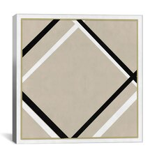 Modern Art Lozenge with Four Lines Painting Print on Canvas