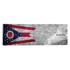 Flags Ohio Panoramic Graphic Art on Canvas