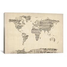 'Old Sheet Music World Map' by Michael Tompsett Graphic Art on Canvas