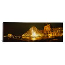 Panoramic Museum Lit up at Night, Musee Du Louvre, Paris, France Photographic Print on Canvas