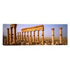 Panoramic Old Ruins on a Landscape, Palmyra, Syria Photographic Print on Canvas
