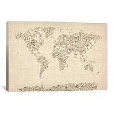 'Music Notes Map of The World' by Michael Tompsett Graphic Art on Canvas