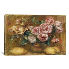 'Nature Morte: Bouquet De Roses Avec Citrons' by Pierre-Auguste Renoir Painting Print on Canvas