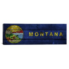 Flags Montana Planks Panoramic Graphic Art on Canvas