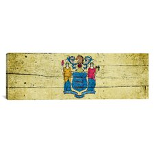 Flags New Jersey Wood Planks Panoramic Graphic Art on Canvas