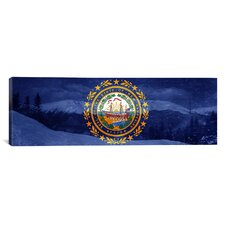 Flags New Hampshire Mount Washington Panoramic Graphic Art on Canvas
