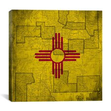 Flags New Mexico Vintage Square Map Graphic Art on Canvas
