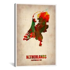 'Netherlands Watercolor Map' by Naxart Graphic Art on Canvas