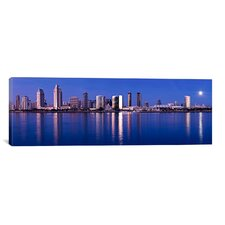 Panoramic 'Moonrise over a City, San Diego, California 2010' Photographic Print on Canvas