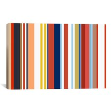 Retro Hemptons Striped Graphic Art on Canvas