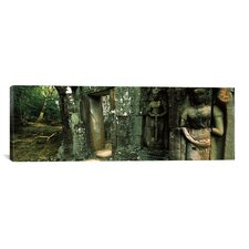 Panoramic Ruins of a Temple, Banteay Kdei, Angkor, Cambodia Photographic Print on Canvas