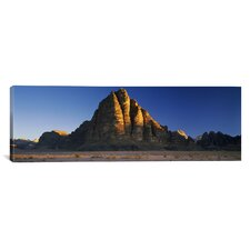 Panoramic Seven Pillars of Wisdom, Wadi Rum, Jordan Photographic Print on Canvas